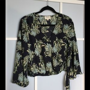 Anthropologie Everly Floral Navy Multicolour Top